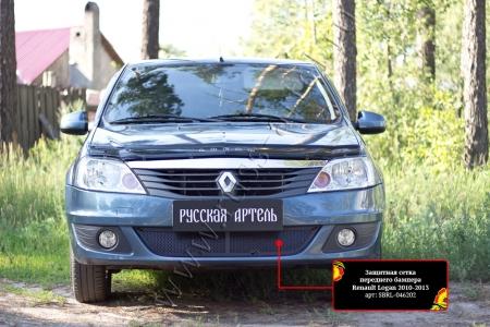 Renault-Logan 2010—2013-Защитная сетка переднего бампера-шагрень